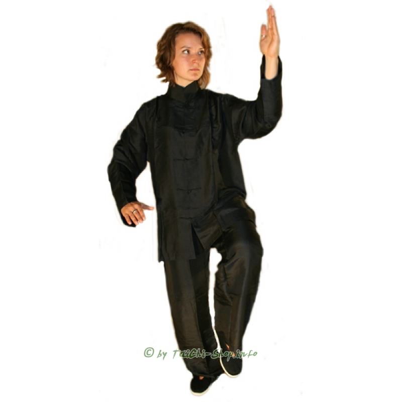 hochwertiger tai chi anzug aus schwarzer seide 155 00. Black Bedroom Furniture Sets. Home Design Ideas